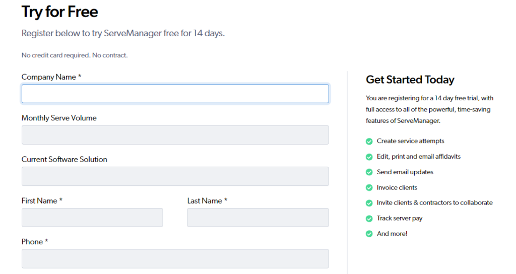 ServeManager Free trial