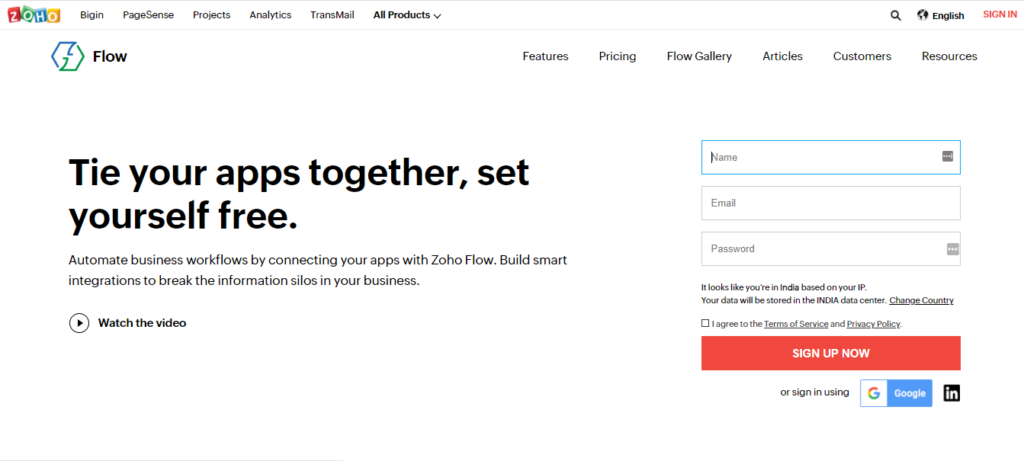 Sign up for Zoho Flow