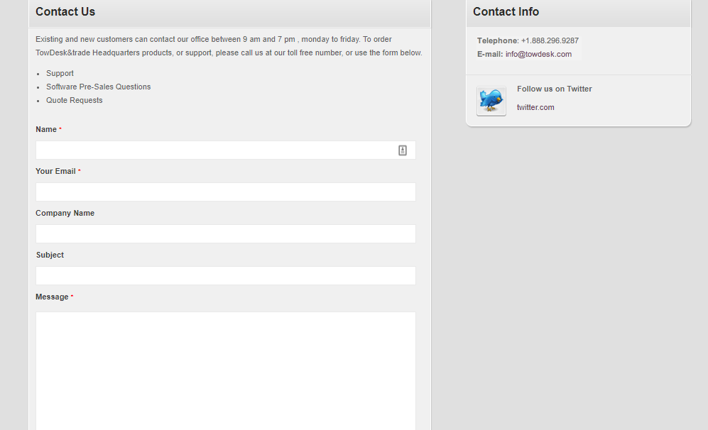 TowDesk Contact page