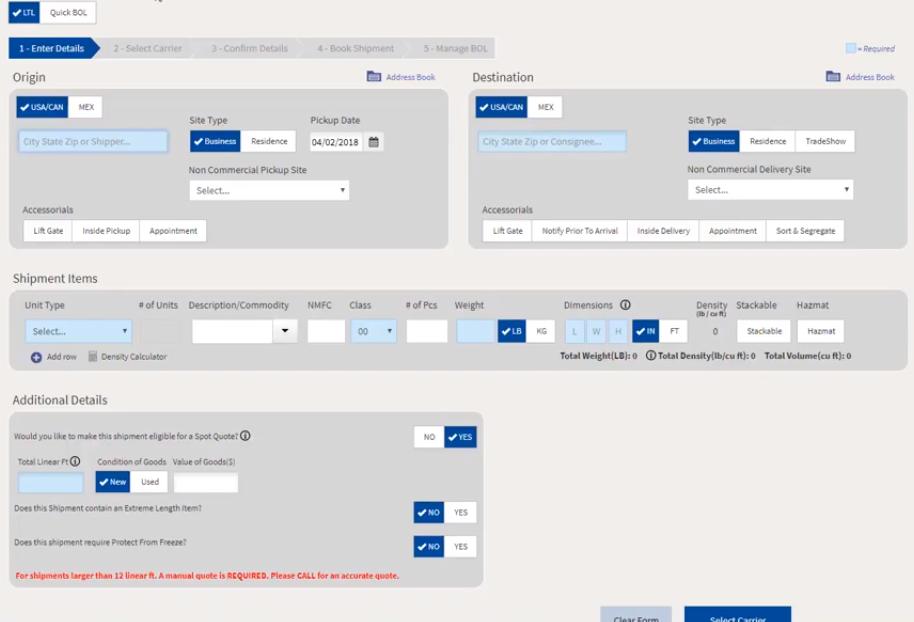 enter origin and destination details