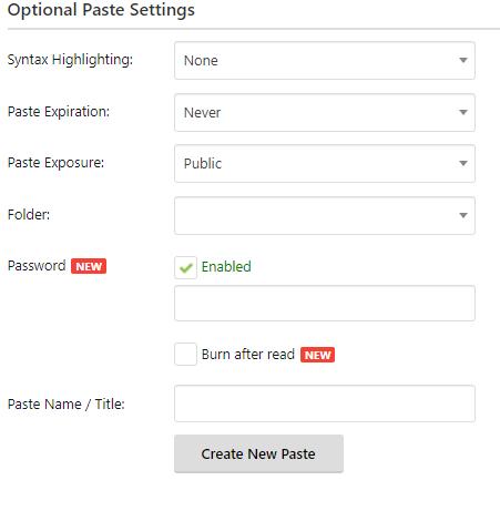 Pastebin features