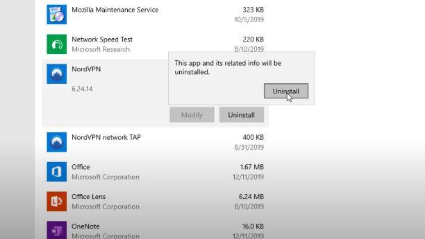 Uninstall VPN