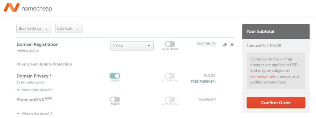 Buying domain in Namecheap