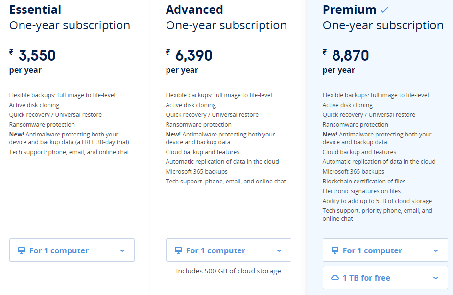 Acronis True Image 2021 pricing and plans