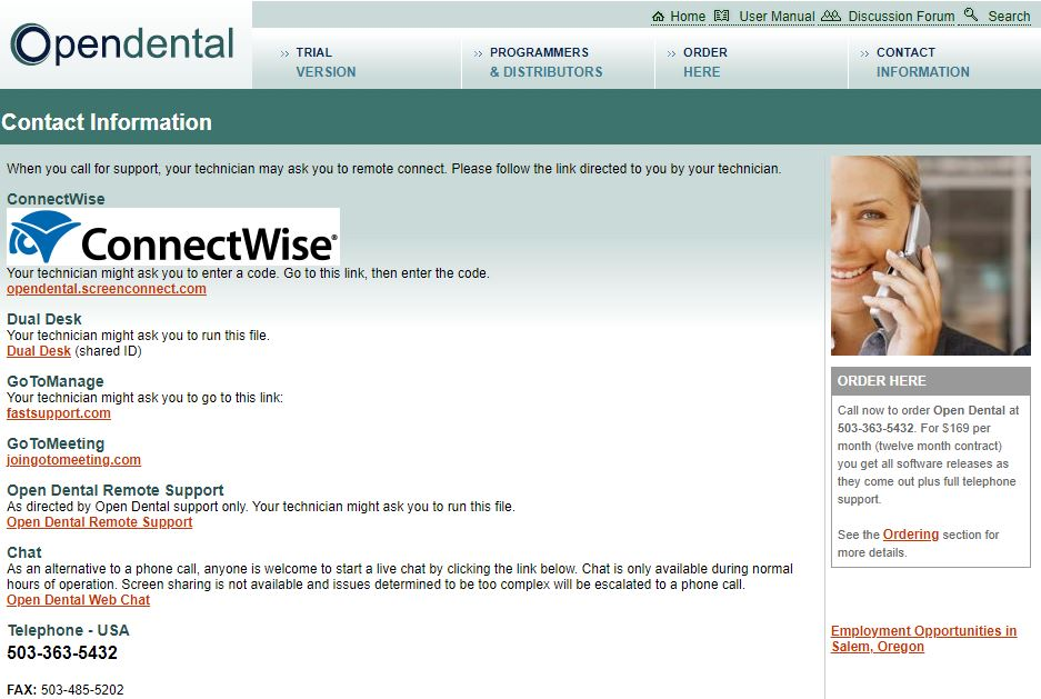 open dental contact page