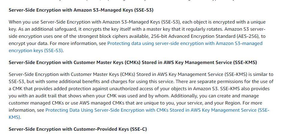 S3 Encryption Data server side
