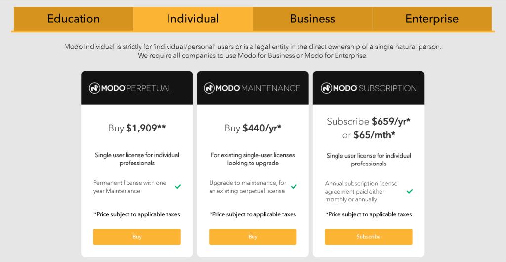 Blender vs modo: Modo Pricing
