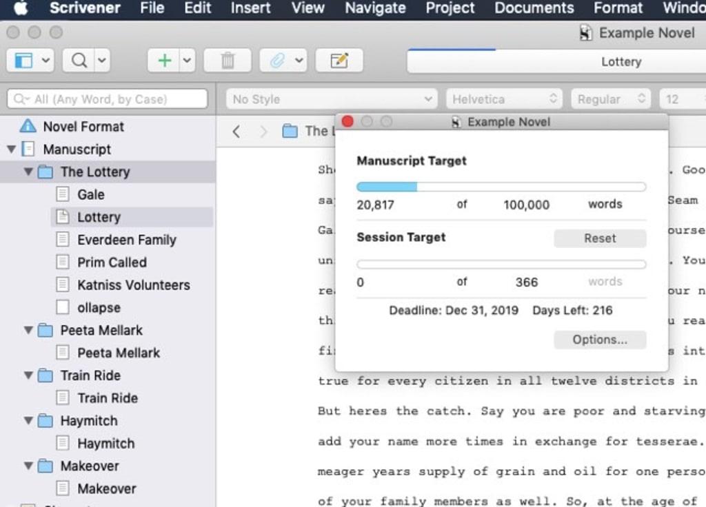 Scrivener process tracking