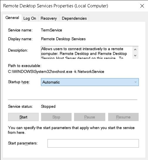 Remote desktop services properties