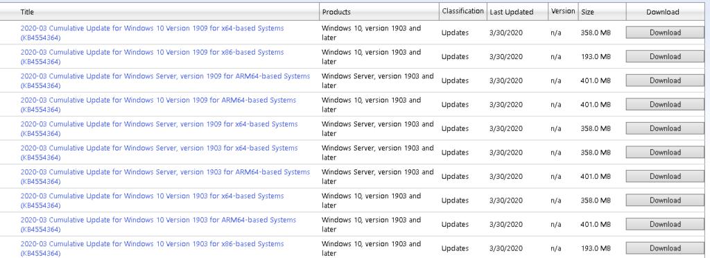 microsoft windows 10 update catalog