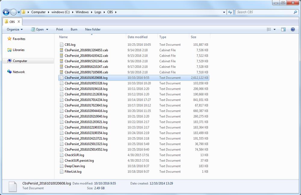 CBS Persist log file