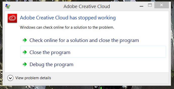 Adobe creative cloud not working
