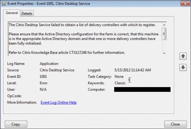 Event Id 1001 error