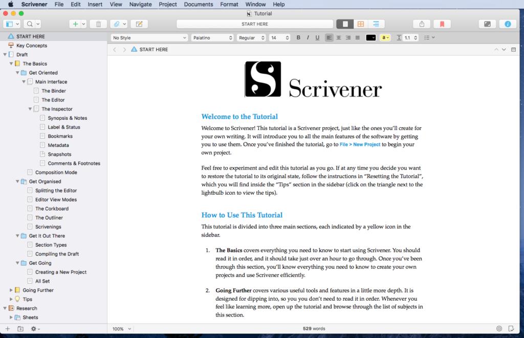 Scrivener Interface