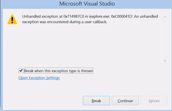 Microsoft Visual studio Exception Code