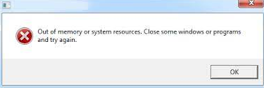 You are out of memory or system resources