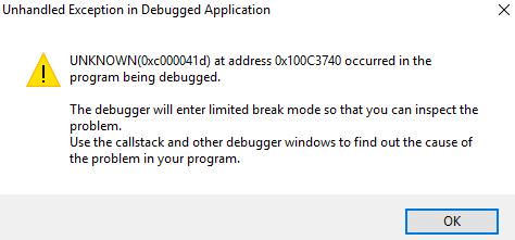 exception code 0xc000041d